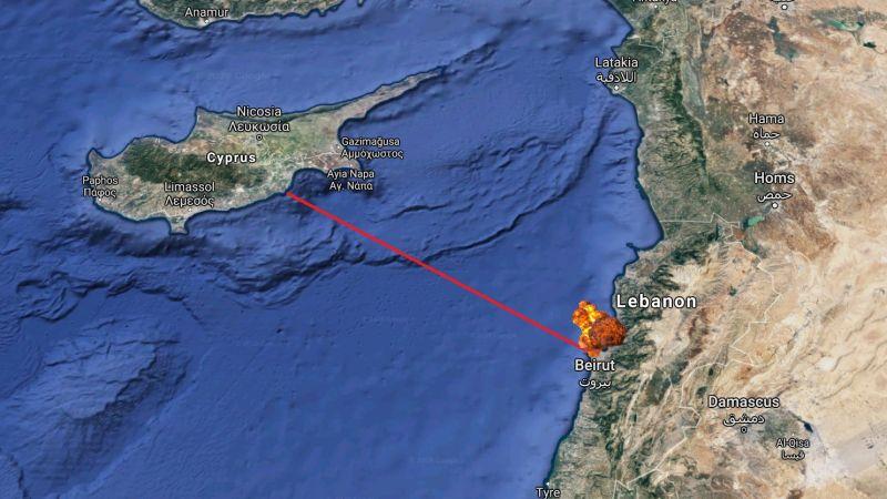▲相隔數234公里的賽普勒斯也能感受到爆炸。(圖/翻攝自