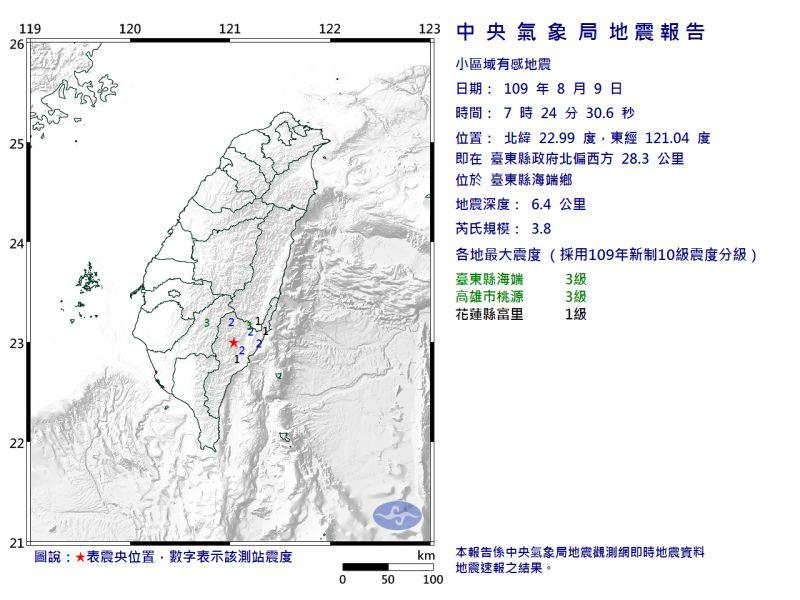 一早就地牛翻身!<b>台東</b>發生規模3.8有感地震 最大震度3級