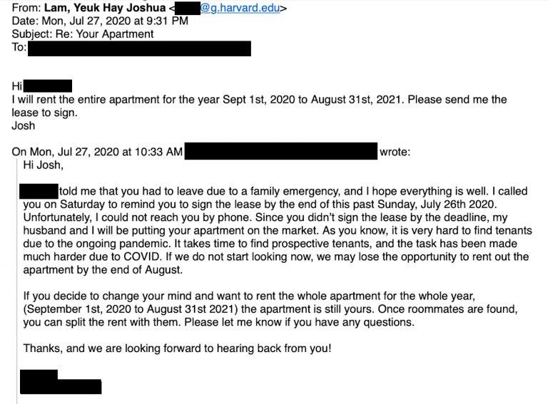 ▲林約希在郵件中回覆房東,表示將繼續租約。(圖/翻攝自香港《傳真社》)