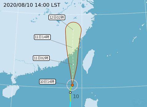 ▲米克拉颱風中心位置目前在鵝鑾鼻西南方海面,以每小時
