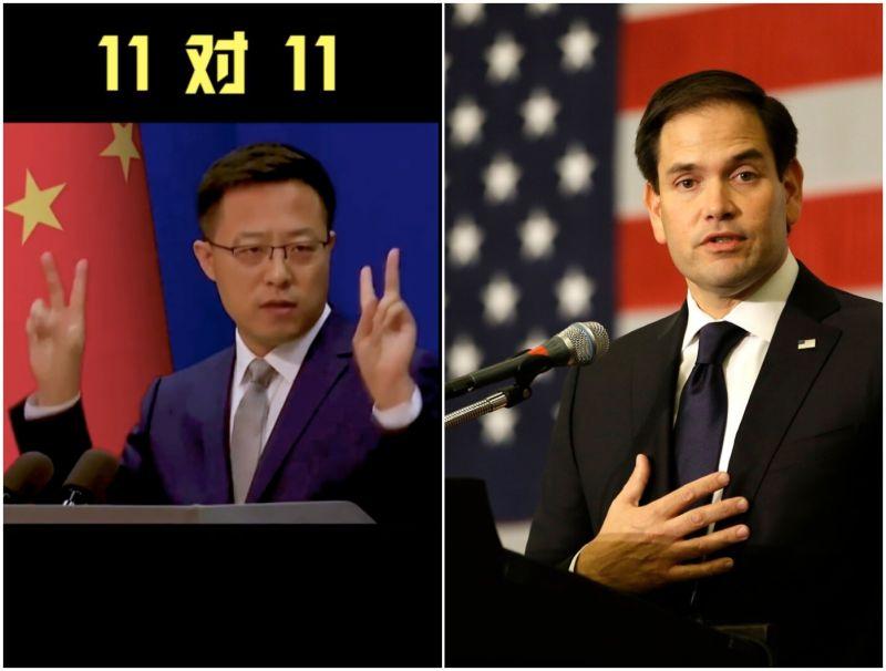 ▲中國外交部趙立監(左)今日宣佈對11名「涉港問題行為惡劣」的美國官員採取制裁。右為美國參議員盧比歐。(圖/翻攝自微博影片/華盛頓郵報)