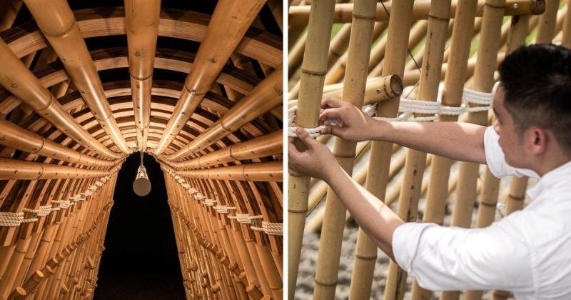 ▲本作品是由竹子、木頭和繩子編織而成,裡頭也裝有LED燈,夜晚忽明忽滅。(圖|翻攝自范承宗臉書)