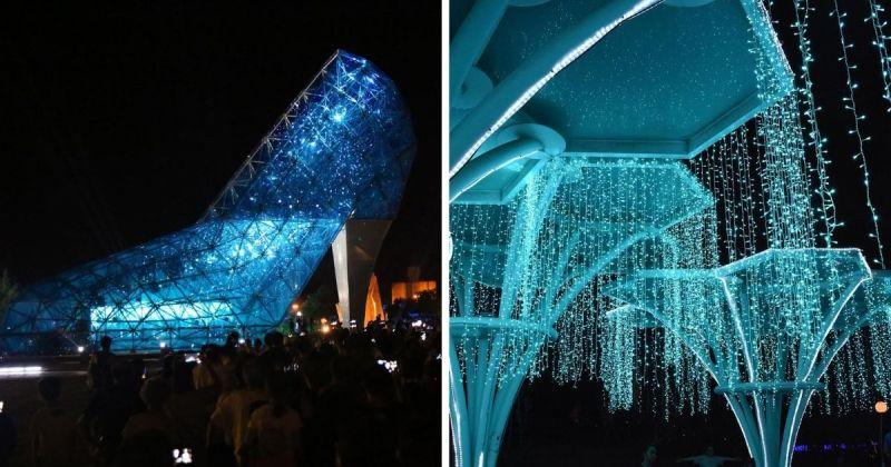 ▲嘉義玻璃高跟鞋教堂(左)(圖|翻攝自@swcoast臉書)