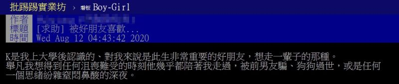 ▲女網友以「被好朋友喜歡」為題,在PTT發文,引起網友熱議。(圖/翻攝自PTT)