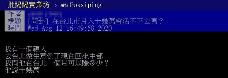 ▲網友以「在台北市月入十幾萬會活不下去嗎?」為題,在PTT發文。