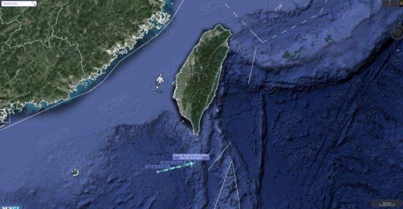 中國「南海戰略態勢感知計畫」平台發現,美國海軍派出軍機在台灣海峽南側巡弋。(圖/取自SCS Probing Initiative Twitter)