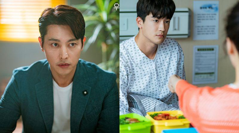▲劇中,宋鍾鎬(左)跟具子成都被嚴彩英懷疑是爸爸。(圖/翻攝JTBC)