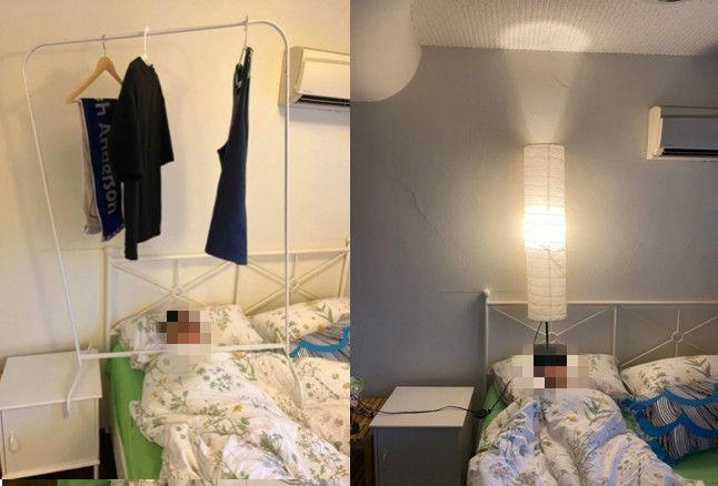 ▲男網友將衣架及電燈擺放至友人頭頂,但友人還是睡得超香甜。(圖/dcard)