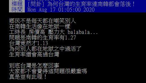 ▲網友在PTT討論台灣生育率低的問題。(圖/翻攝自PTT)