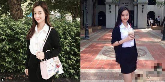 ▲在就讀大學期間,由於身穿學院風配上奶茶的照片在網路上爆紅,瞬間俘虜了不少泰國男粉絲,登上特搜並被稱為「奶茶妹」。(圖/翻攝自推特)