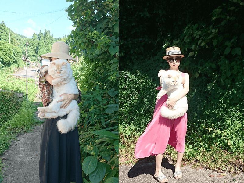 女子抱「白貓」外出散步 網友驚呼:是吃什麼長這麼大?