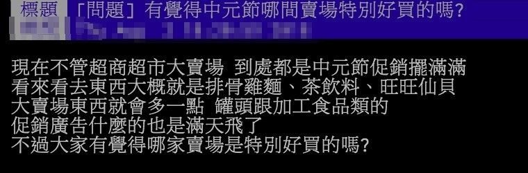 ▲網友討論中元節的供品要去哪裡比較好買。(圖/翻攝PTT)
