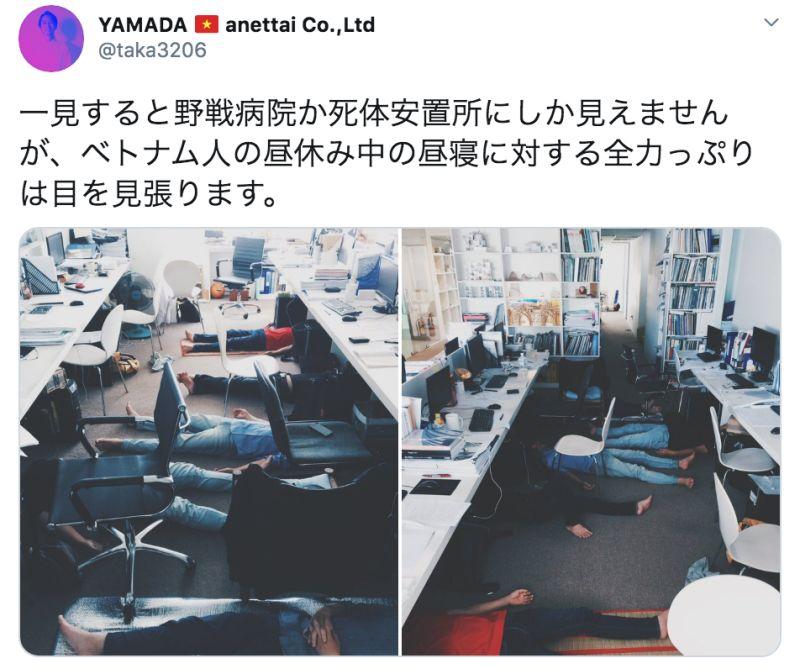 ▲一位日本網友在越南經營建築事務所,當地人的午睡習慣對他造成巨大文化衝擊,引發熱議。(圖/翻攝自@taka3206的推特)