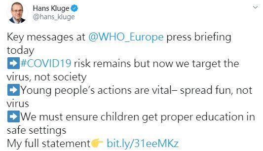 ▲世衛歐洲區主任克魯格警告,疫情反彈的風險從未消失,年輕人是重要的抗疫前線。(圖/翻攝自克魯格推特)