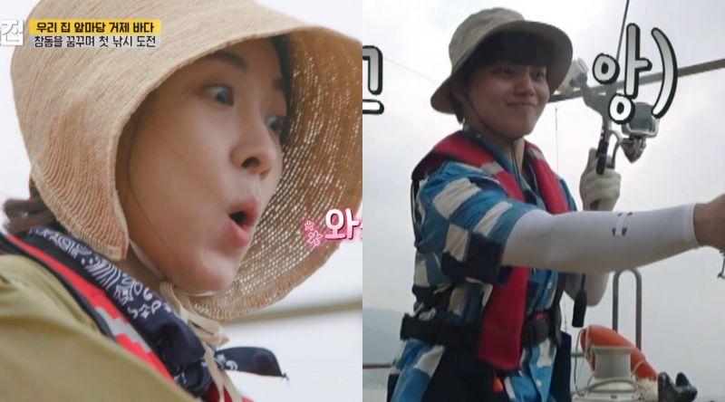 ▲河智苑(左)跟呂珍九等人去釣魚,男生好害羞。(圖/friDay影音)