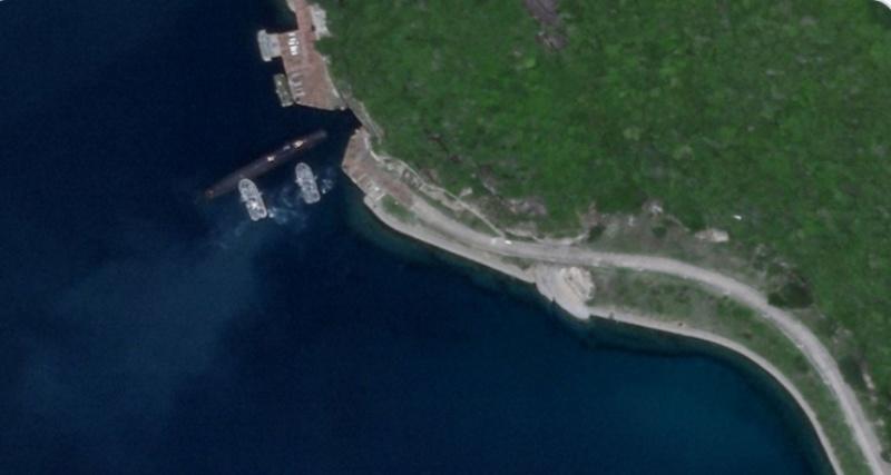 ▲衛星拍到在兩艘軍艦下的一艘中國潛艇,正要進入位在海南島的地下基地。(圖/翻攝自Drake Long推特)