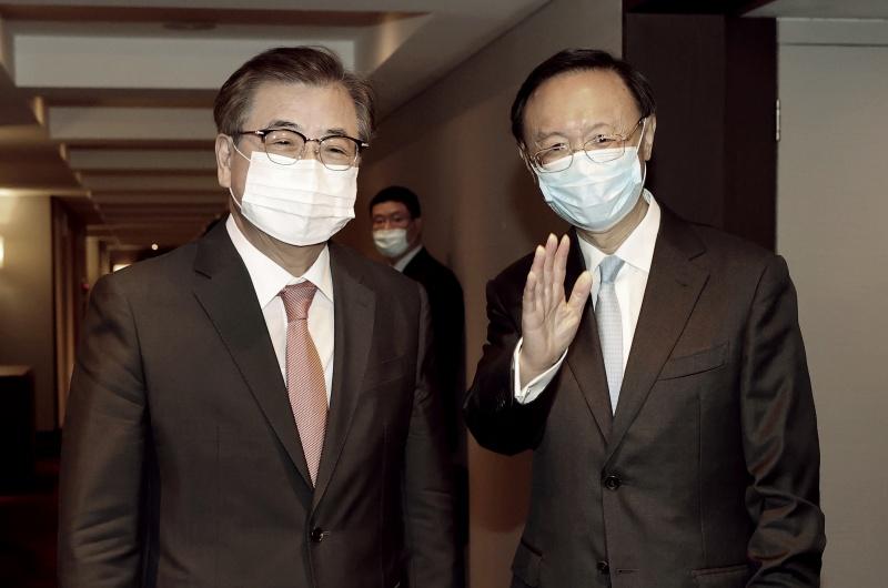 ▲中共中央政治局委員楊潔篪本月21日抵達韓國釜山,圖為他