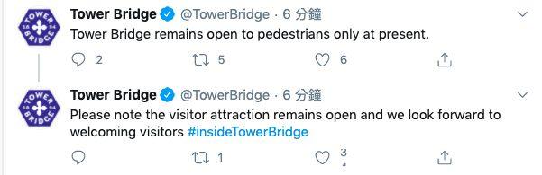 ▲倫敦塔橋官方推特更新交通動態。(圖/翻攝自