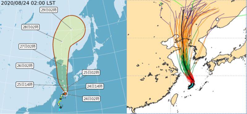 ▲吳德榮提到,今起颱風尾影將影響台灣,且時間持續至周五,西南風所挾帶的水氣,周三起有影響加劇的趨勢。(圖/氣象局、歐洲中期預報中心)