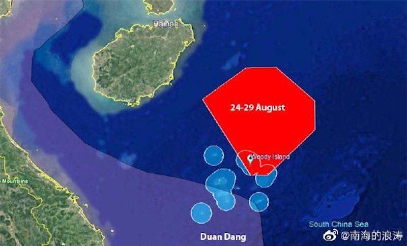 ▲解放軍於海南島外海進行軍演的範圍。(圖/翻攝自微博)