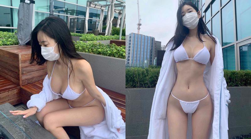 ▲擁有H罩杯的正妹申才恩,在酒店穿比基尼、戴口罩玩水。(圖/申才恩IG)