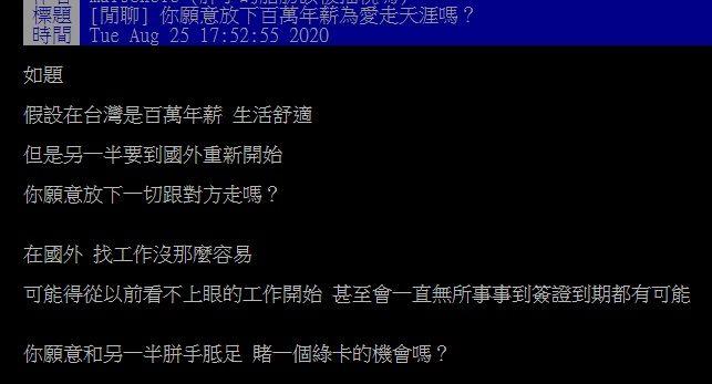 ▲網友在PTT討論「願意放下年薪百萬為愛走天涯嗎?」(圖/翻攝自PTT)
