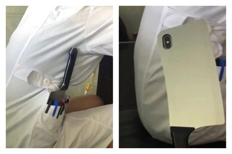 ▲網友笑稱自從在急診室工作的朋友用了這「菜刀手機殼」,急診室就進入完全和平狀態,沒人敢鬧事。(圖/翻攝自《爆廢公社二館》臉書)
