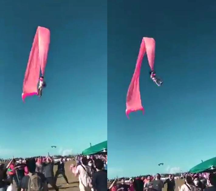 ▲新竹市風箏節發生一起意外,一名三歲小妹妹遭強風捲到天空中搖擺。(圖/翻攝跟著Via趣旅行~Part II)