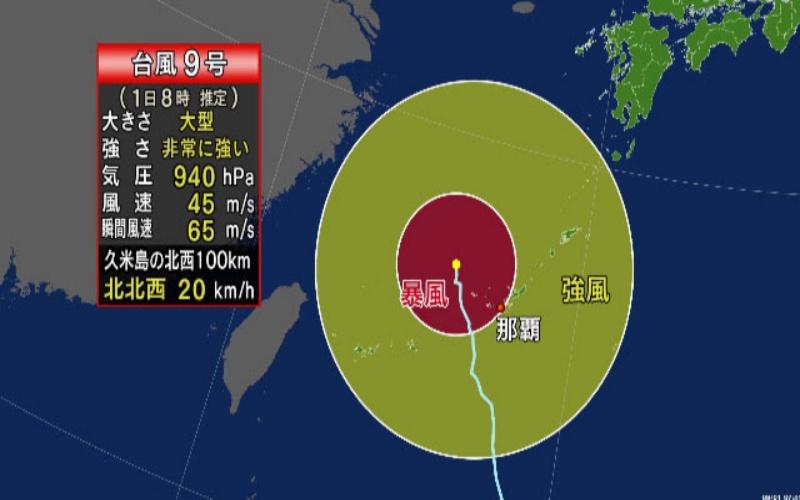 ▲梅莎颱風逼近沖繩和九州。(圖/翻攝自 NHK )
