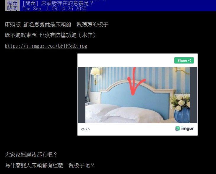 ▲網友在PTT討論床頭板有何功用?(圖/翻攝自PTT)
