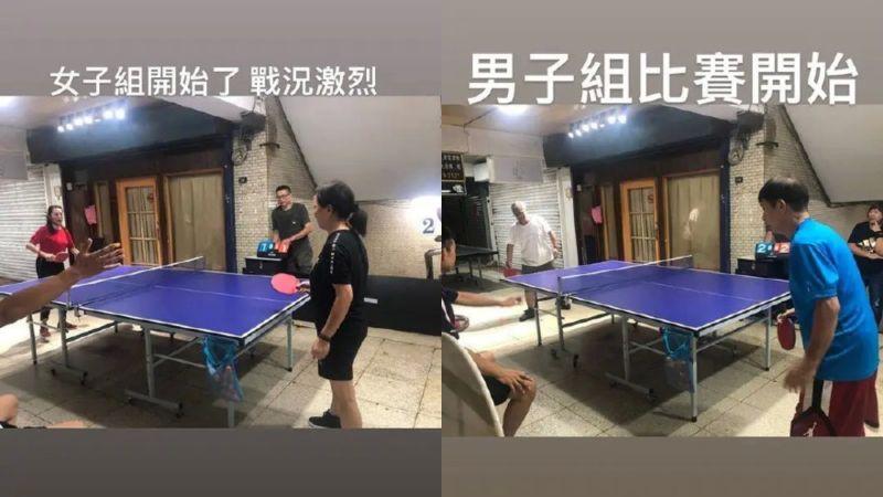 ▲小豬幫長輩辦桌球比賽。(圖/筷說魚樂微博)