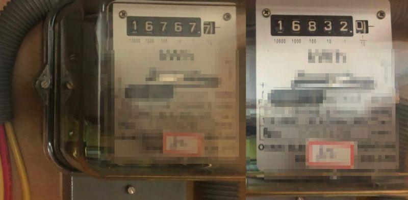 ▲網友秀出租屋處七月(左)及八月(右)的電錶數字,一個月僅用了65度電,還天天爽吹冷氣。(圖/翻攝信義大小事)