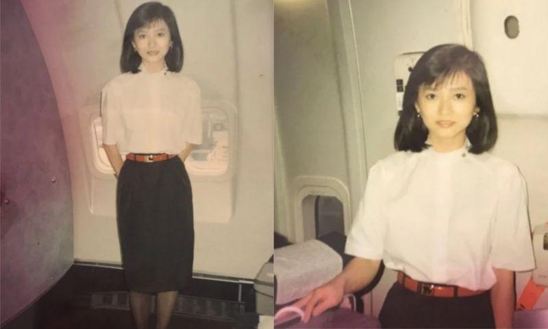 ▲女網友PO出媽媽30年前當空姐時拍的「零修圖」美照。(圖/翻攝自《Dcard》)