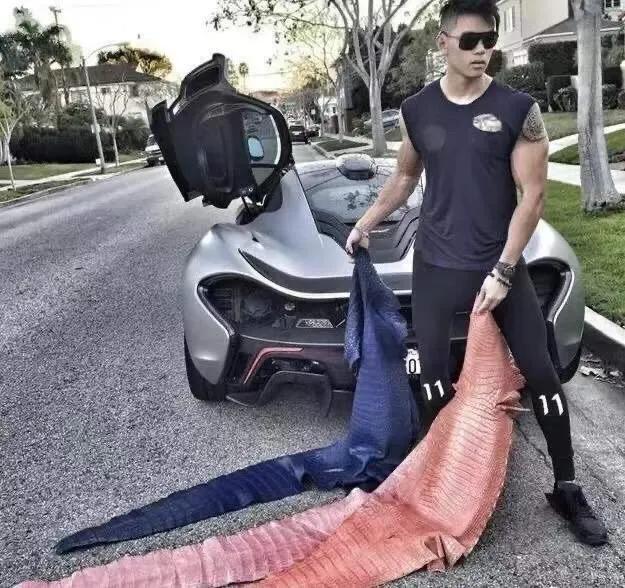 ▲普特拉活剝三張鱷魚皮並在豪車前拍照。(圖/翻攝自IG)