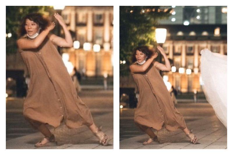 ▲日本一位攝影師分享了婚紗拍攝現場的照片,撩群擺的助理超搶戲,讓網友笑翻。(圖/翻攝自@0321Haichiizu的推特)