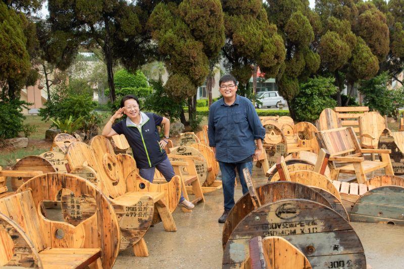 金門林務所發揮巧思 廢棄電纜木盤成座椅