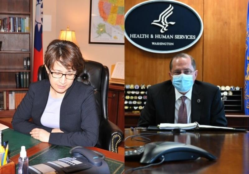 ▲駐美代表蕭美琴與美國衛生部長阿薩爾。(圖/取自駐美國台北經濟文化代表處推特、阿薩爾推特)