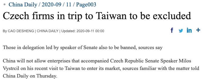 中國禁訪台捷克企業入市場 捷商:如此幼稚令人驚訝