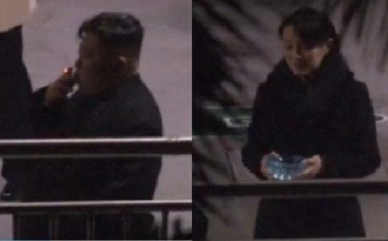▲2019年韓國媒體捕捉到金正恩抽煙的畫面,金正恩的妹妹金與正手拿煙灰缸在旁。(圖/翻攝自