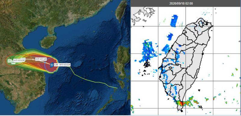 ▲中央氣象局「路徑潛勢預測圖」及「暴風侵襲機率圖」(左圖)顯示,第11號颱風「紅霞」通過海南島南方海面,今午登陸越南中部。今晨2時雷達監測顯示,恆春半島有回波發展並通過(右圖)帶來降雨,其他各地的弱回波為雜訊。(圖/翻攝自)