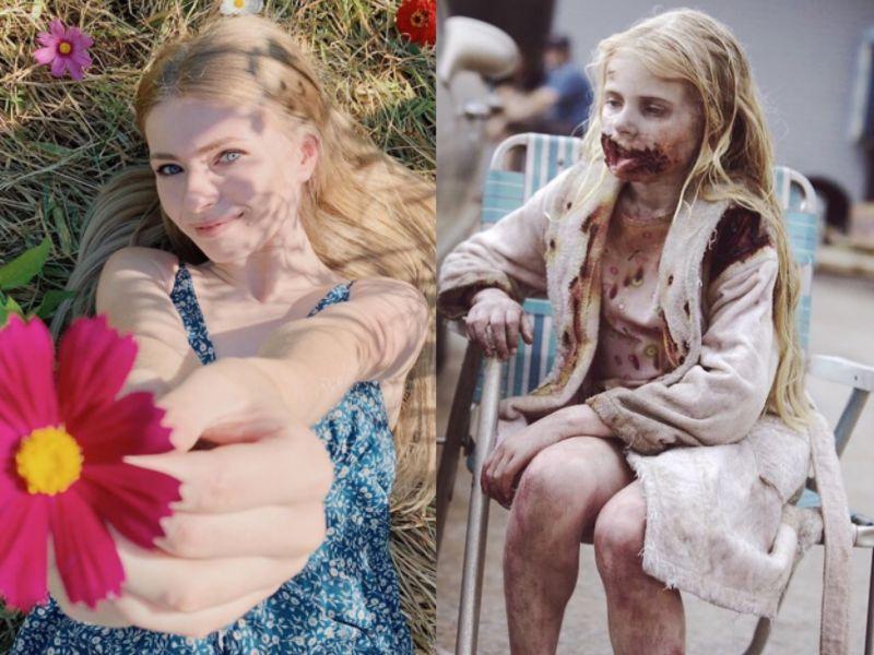 ▲▼阿迪米勒已經從《陰屍路》的活屍小女孩,變成超仙大學生(上圖左)。(圖/車庫)