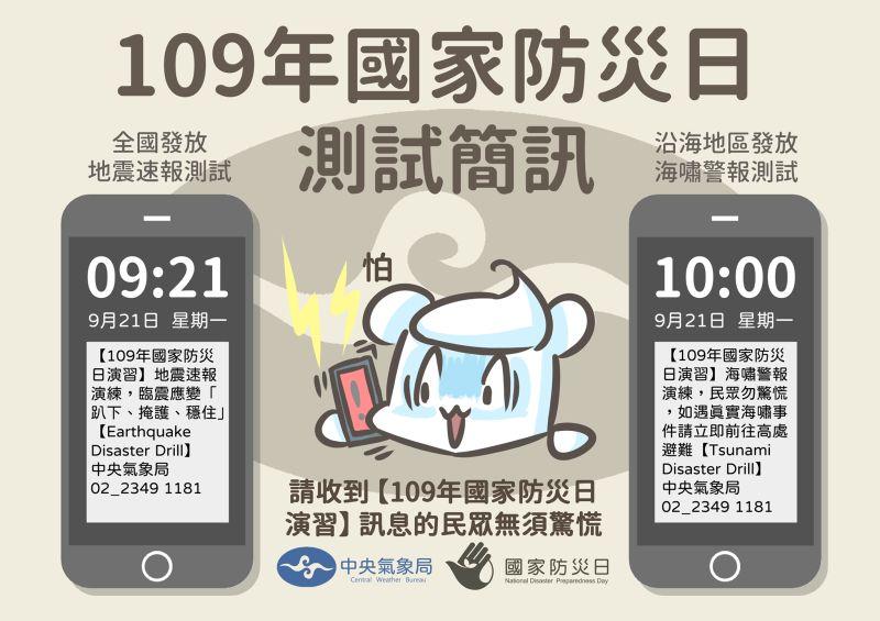 ▲每年9月21日是「國家災防日」,氣象局將進行災防演練,發送測試簡訊。(圖/擷取自報地震中央氣象局臉書)