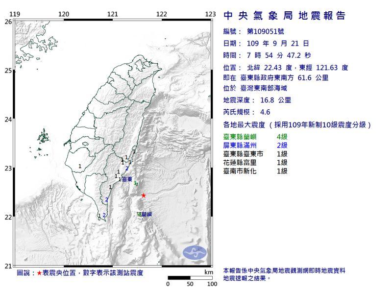 ▲今(21)日7:54台東發生規模4.6地震,最大震度4級。(圖/翻攝自中央氣象局官網)