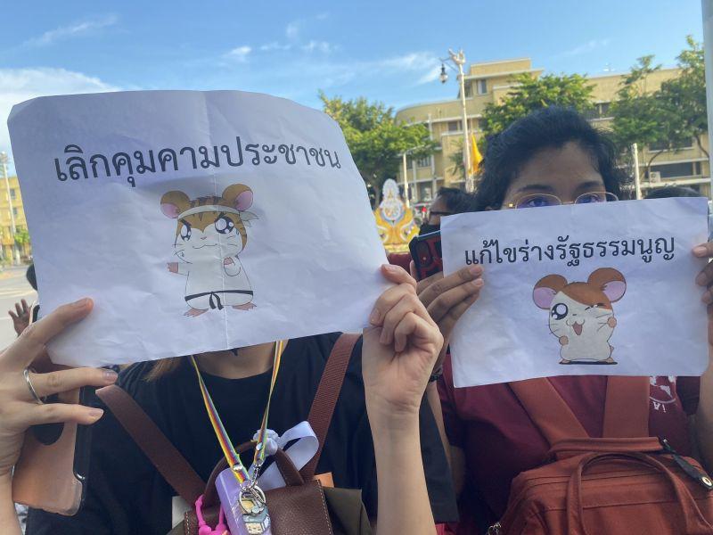 ▲泰國年輕示威者高舉哈姆太郎的圖片、標語,表達對政府的不滿。(圖/翻攝自Twitter)