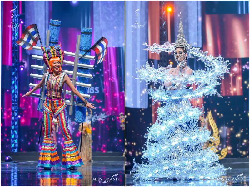 ▲泰國各省府小姐都穿「最能代表家鄉特色」的服裝在現場走台步,超浮誇的造型讓網友大開眼界。(圖/翻攝自臉書)
