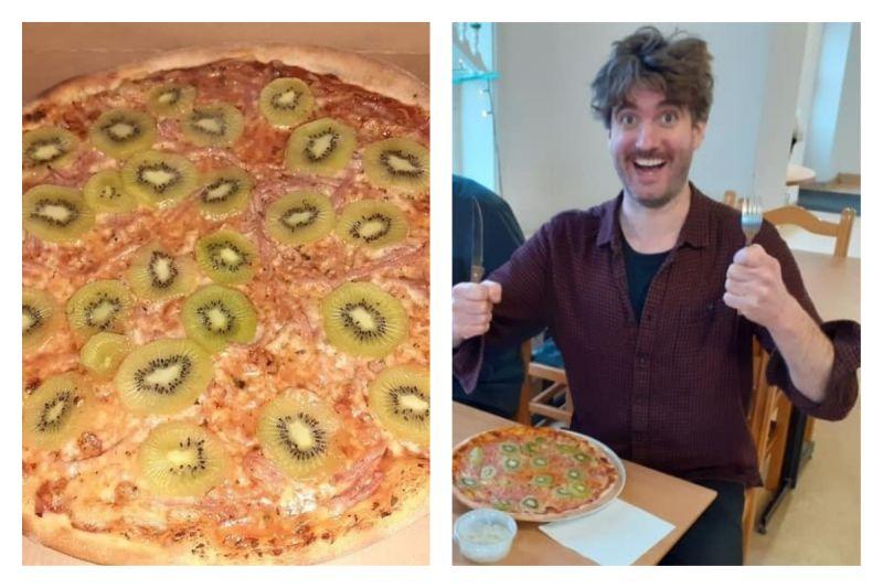 ▲外國一位人夫發明了「奇異果披薩」,引來惡評如潮,老婆更為此跟他離婚。(圖/翻攝自Stellan Johansson的推特)
