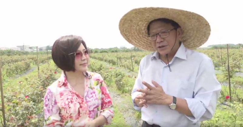 ▲潘孟安這次和小農總經理攜手介紹大花農場的玫瑰,也強調食用級玫瑰花不施肥、不灑農藥。(圖/截圖自于美人粉絲團直播)
