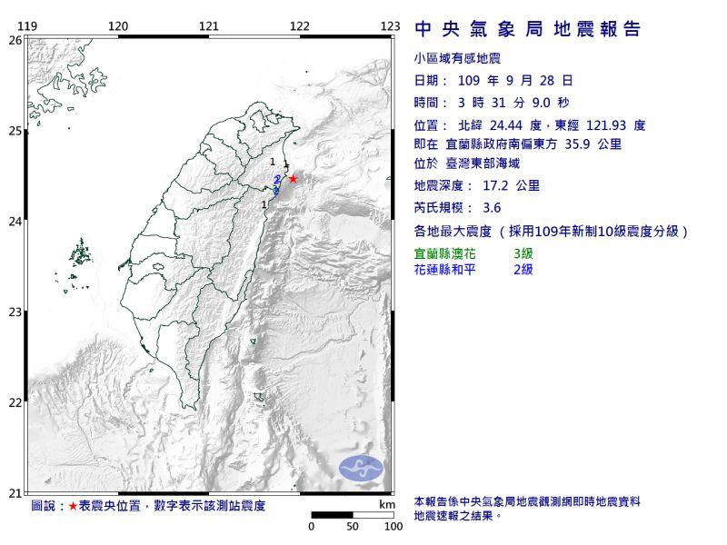 宜蘭凌晨3:31發生規模3.6地震!深度僅17.2公里
