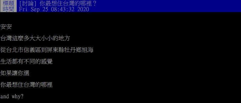 ▲原PO提問「如果讓你選,你最想住台灣的哪裡?」(圖/翻攝PTT)