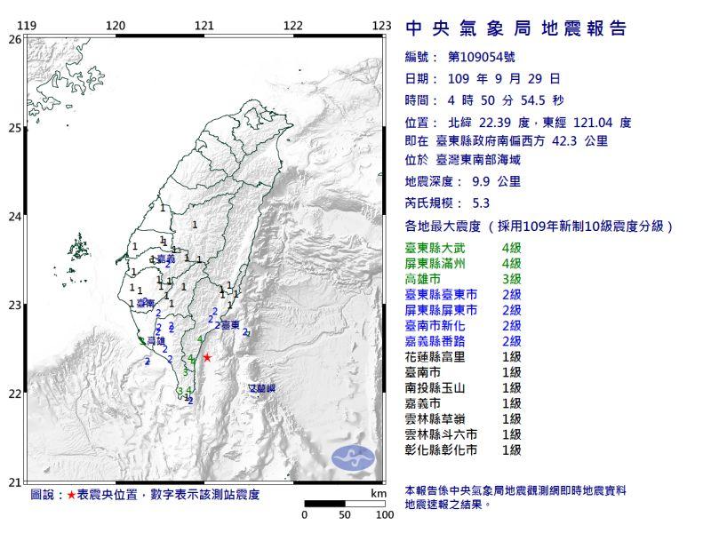 ▲今(29)日凌晨4點50分台東外海發生芮氏規模5.3地震。(圖/翻攝自中央氣象局官網)